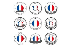 Made in France, seals, badges