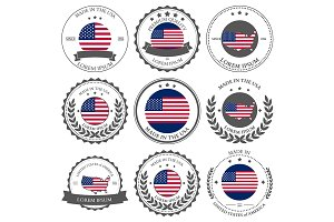 Made in USA, seals, badges. Vector