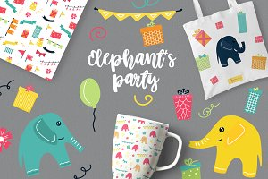 Elephant's party vector clipat