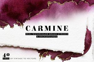 CARMINE Watercolor Brush Strokes