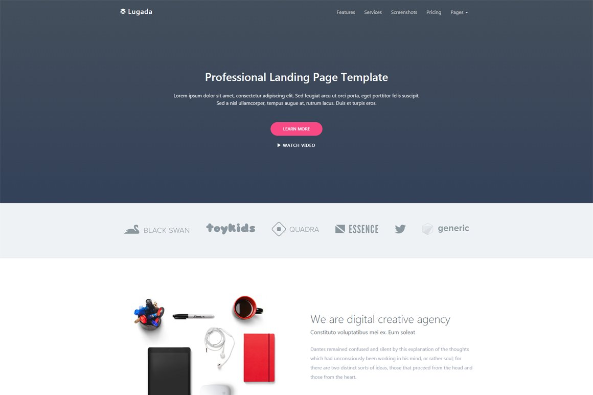 lugada responsive landing template bootstrap themes creative market. Black Bedroom Furniture Sets. Home Design Ideas