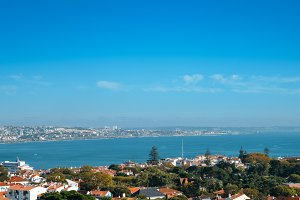 Aerial view of Cascais Bay including