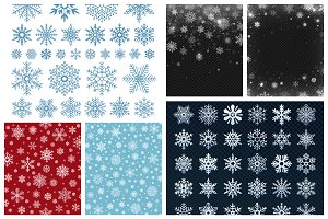 Snowflakes and snowy backgrounds
