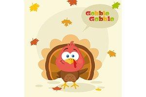 Cute Turkey Bird Cartoon Character
