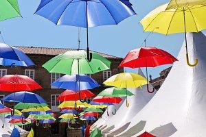 umbrella colorful decoration in fest