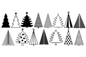 Christmas tree graphic art set. New