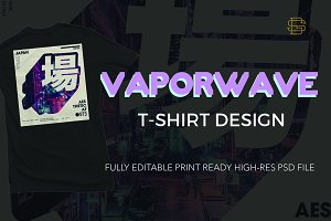 Vaporwave T-shirt Design Template