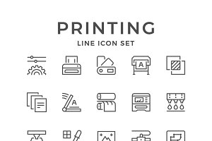 Set line icons of print