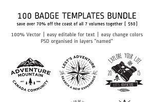 100 Badge Templates Bundle
