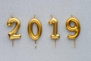 Happy new year 2019. Gold shiny numb