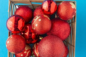 Red christmas balls and baubles for