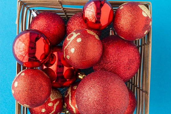 Red christmas balls and baubles for…