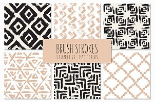 Brush Strokes. Seamless Patterns v.6