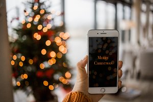 Christmas mockup iPhone 7 +