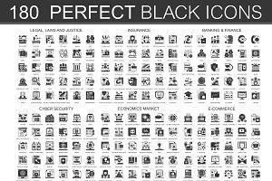 180 Black complex icons