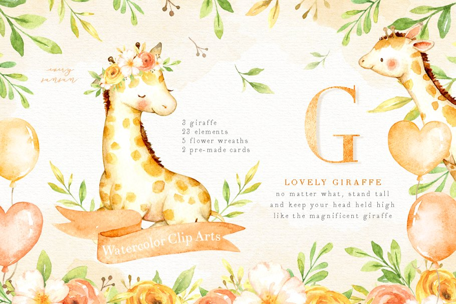 Lovely Giraffe Watercolor Clip Art