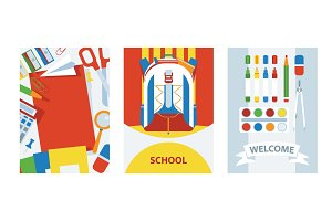 Back to school cards background with