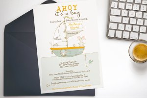 Row Boat baby shower invitation