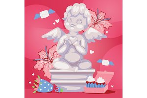 Angelic cupid sculpture background