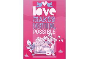 Valentine day poster angel statue