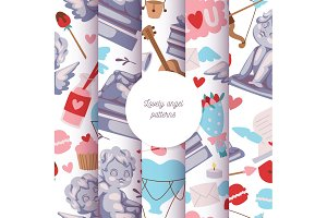 Cupid statue seamless pattern vector