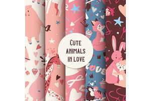 Cute animals seamless pattern with