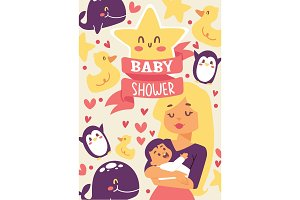 Baby shower vector illustration