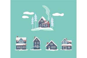 Cozy winter houses set. Snowy vector