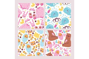 Baby shower seamless pattern set