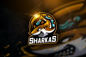 Sharkas - Mascot & Sports Logo
