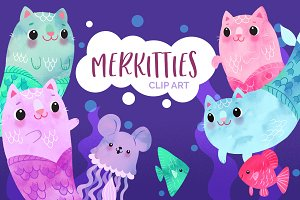 Adorable Mer-kitty Clip Art