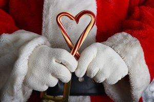 Closeup of Santa Claus hands holding