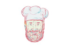 Hipster Baker Cook Chef Head