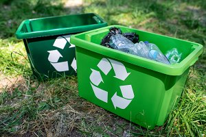 green recycling boxes with plastic t