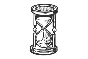 Sand watch glass engraving vector