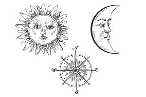 Sun and moon with face engraving