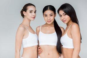 three attractive multiethnic women l