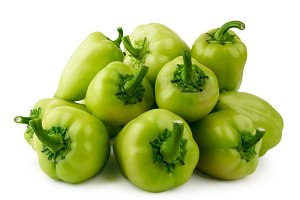Pile of green pepper close up