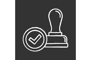 Stamp approved chalk icon