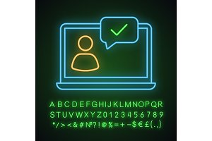 Approved chat neon light icon