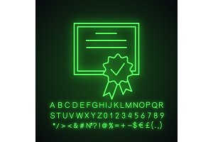 Certificate neon light icon