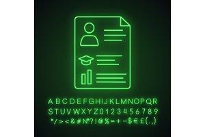 Resume neon light icon