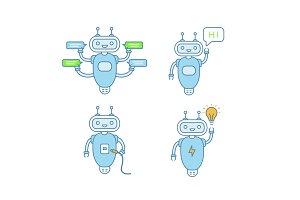 Chatbots color icons set