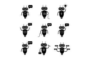 Chatbots glyph icons set