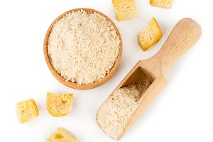Pieces of dried bread and breadcrumb