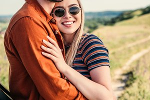 young stylish couple in sunglasses s
