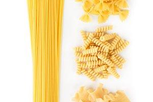 A set of spaghetti and pasta
