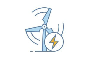 Wind energy turbine color icon
