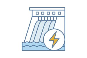 Hydroelectric dam color icon