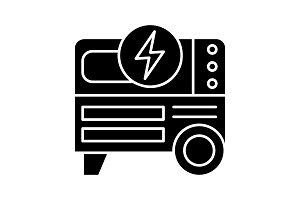 Portable power generator glyph icon
